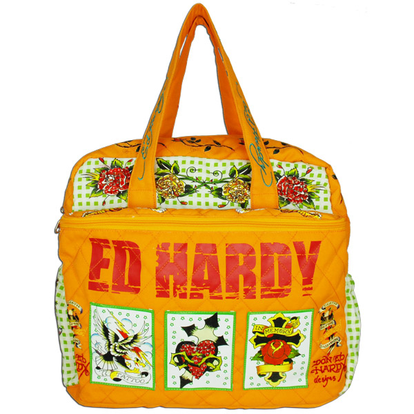 Ed hardy 100 original patch diaper bag orange - Ed hardy lisa frank ...